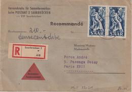 """SARRE : REC . """" SAARBRUCKEN 2  """" . 1954 . - Cartas"""