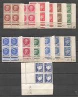 FRANCE ANNEE 1941/1944 N°507,508,512,514X2,516X2,517,518,520X2,521A,522 BLOCS DE 4 EX COINS DATES NEUFS** MNH - 1940-1949