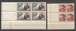 FRANCE ANNEE 1941 N°495,496 BLOCS DE 4 EX COINS DATES NEUFS** MNH TB COTE 11,50 € REMISE-90% - 1940-1949