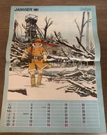 POSTER SUPPLEMENT TINTIN NEIGE CALENDRIER JANVIER  1987 - Verzamelingen