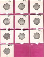 FRANCE Monnaies  Lot 10 Pièces Semeuse 1 Franc Argent 1911 à 1920 - H. 1 Franc