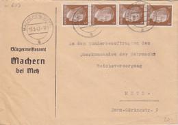 """Lettre à Entête """"Bürgermeisteramt Machern"""" De Maizières Les Metz (T329 C Machern B Metz A), TP Hitler 3pf X 4 Le 15/5/42 - Alsace Lorraine"""