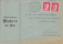 """Lettre à Entête """"Bürgermeisteramt"""" De Maizières Les Metz (T329 C Machern B Metz A), TP Hitler 12pf X 2 Le 23/1/42 - Elzas-Lotharingen"""