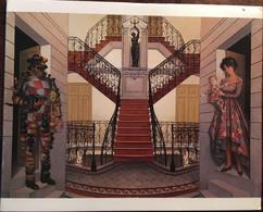 """CPM DOUBLE, """"meilleurs Voeux"""", L ESCALIER De JEAN PIERRE ALAUX 1985 DOUBLE PAGE, Non écrite - Pintura & Cuadros"""