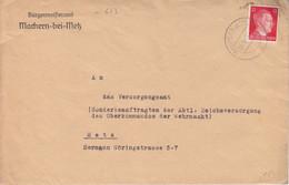 """3 Lettres à Entête """"Bürgermeisteramt"""" De Maizières Les Metz (T329 C Machern B Metz A), TP Hitler 12pf Les 4, 10, 14/9/43 - Alsace Lorraine"""