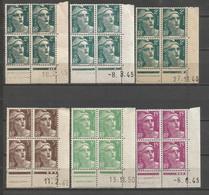 FRANCE ANNEE 1945/1947 N°713X3,715,719,724 EN BLOCS DE 4 EX NEUFS** COINS DATES MNH TB COTE 30,00 € REMISE-90% - 1940-1949