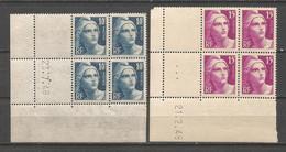 FRANCE ANNEE 1945/1947 N°726,727 EN BLOCS DE 4 EX NEUFS** COINS DATES MNH TB COTE 57,50 € REMISE-88% - 1940-1949