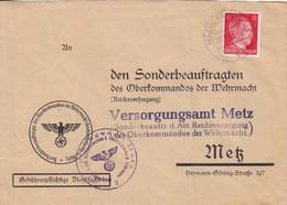 """Lettre à Entête """"Oberkommandos"""" De Maizières Les Metz (T329 C Machern B Metz A), TP Hitler 12pf Le 20/9/43 + Cachet Viol - Alsace Lorraine"""