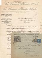 LOT 2 FACTURE COURRIERS COMMERCIAUX ET ENVELOPPE PESAGE LEVAGE SUCCESSEURS D'ALEXANDRE MARLIN A JOUE-LES-TOURS 1923 - 1900 – 1949