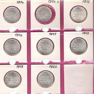 FRANCE Monnaies  Lot 8 Pièces Semeuse 2 Francs Argent 1914 à 1920 Dont 1914C Castelnaudary - I. 2 Francs