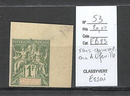 Nouvelle Calédonie - Yvert 53 - Essai Sans Gomme - Coin De Feuille - 1franc Type Groupe - Nuevos