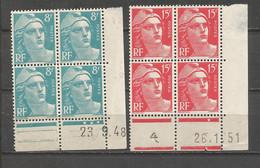 FRANCE ANNEE 1948 N°810,813 EN BLOCS DE 4 EX COINS DATES NEUFS** MNH COTE 12,00€ REMISE-90% - 1940-1949