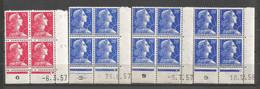 FRANCE ANNEE 1955 N° 1011,1011BX3 EN BLOCS DE 4EX NEUFS** MNH COINS DATES  COTE 12,00 € REMISE-90% - 1950-1959