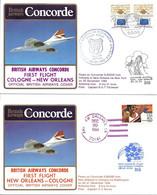 CONCORDE British Airways G-BOAB.  Premier Vol COLOGNE-NEW ORLEANS-COLOGNE  20 Décembre 1984 (2 Plis) - Concorde