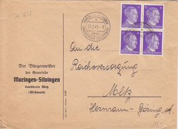 Lettre à Entête De Marange-Silvange (T334 Maringen-Silvingen A über Hagedingen Westmark), TP Hitler 6pf X 4 Le 13/2/43 - Elzas-Lotharingen