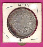 FRANCE Monnaies  Hercule  Pièce 5 Francs Argent 1873A - J. 5 Francs