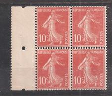 France - Y&T N° 138fa** - Bloc De 4 - Type II Semeuse Papier X - Pli De Gomme Sur Le Bas - Unused Stamps