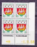 N° 1185  Armoiries De Province :NANTES: Bloc De 4 Timbres Coins Datés Jaune 6.1.58 Neuf Impeccable Gomme D'origine - 1950-1959