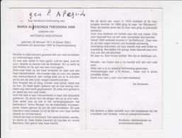 Doodsprentje - Sterbebildchen - Maria Vink - Essen 1911 / Geertruidenberg 1997 - Todesanzeige