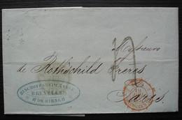 Belgique Par Valenciennes 1857 Lettre De Bruxelles Bischoffsheim Cassel Et De Kirsch Pour Les Frères Rothschild à Paris - Marques D'entrées
