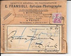 Enveloppe Comptoir General De P^hotographie E. Fransioli Opticien à Montreux, à Vevey Territet - Marcophilie