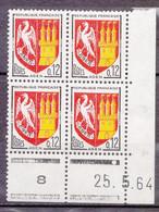 N° 1353A Armoiries De Province; Agen Bloc Coins Datés 25.5.64 Timbres  Neuf Impeccable - 1950-1959