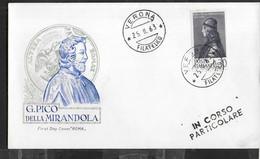 """ITALIA - F.D.C. - 1963 - PICO DELLA MIRANDOLA  - ANNULLO """" VERONA *25.II.1963*FILATELICO"""" SU BUSTA FDC ROMA - FDC"""