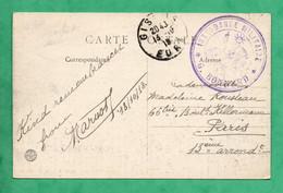 Guerre 14 - 18 Cachet Affranchissement  Intendance Militaire Sur Carte Gisors Eure  13 Octobre 1918 - Oorlog 1914-18