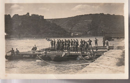 Franzosenmanöver Am Rhein ,Brückenbau Mit Booten?,Hintergrund Schloß/Burg, Geschrieben Oberhausen 1924 - Manöver