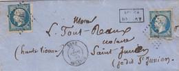LETTRE. 7 SEPT 59. BONE. ALGERIE. PC 3716. DOUBLE PORT. ETUDE DE M° LAGORCE POUR ST JUNIEN Hte-VIENNE - 1849-1876: Periodo Clásico