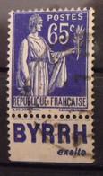 France N° 365 Oblit. Type Paix 65c. Byrrh. Timbre De Carnet. Bande Publicitaire Publicité Pub. - Publicidad