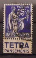 France N° 365 Oblit. Type Paix 65c. Tétra. Timbre De Carnet. Bande Publicitaire Publicité Pub. - Publicidad