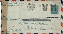CTN64- ETATS UNIS LETTRE AVION WASHINGTON / TOURS 17/1/1945 CENSURE - Brieven En Documenten