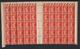 France - 1932-37 - N°Yv. 278A - Semeuse 3c Rouge Orange - Bloc De 50 Bord De Feuille - Neuf Luxe ** / MNH / Postfrisch - Unused Stamps