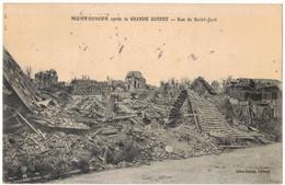 MONTDIDIER MILITARIA SOMME : RUE DE SAINT JUST APRES LA GRANDE GUERRE 14/18 Ed CARON CIRCULE VERS DAVENESCOURT EN 1921 - Montdidier