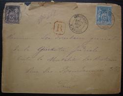 Longjumeau 1886 Lettre Recommandée Avec R Rouge Plus Cachet N.A. PARIS.N.A  Chargements En Rouge Au Revers - 1877-1920: Periodo Semi Moderno