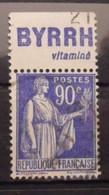 France N° 368 Paix Oblit. 90c. Byrrh.  Timbre De Carnet. Bande Publicitaire Publicité Pub. - Publicidad
