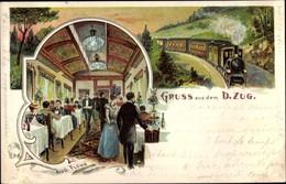 Lithographie Eisenbahn, Dampflok, D-Zug, Aug. Flohr Aus Frankfurt Main - Treni