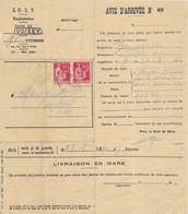 1940 / Avis D'arrivée Wagon Fonte / Gare De Voisey , Cachet Pointillé De Melay / 52 Haute-Marne - Sin Clasificación