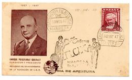 Tarjeta Con Matasellos Commemorativo Exposicion De Manresa De 1947 - 1931-50 Covers