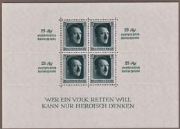 """GERMANIA III REICH 1937 48° HITLER  PRO FONDO CULTURA """" 25Rpf EINSCHLIESSLICH KULTURSPENDE """"  BF 10 MNH** SPLENDIDO (2) - Blocchi"""