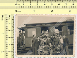 REAL PHOTO  1940 Yugoslavia JDZ  Train Boys In Railway Station ORIGINAL VINTAGE SNAPSHOT PHOTOGRAPH - Trains