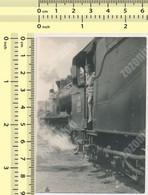 REAL PHOTO Yugoslavia JZ Train Boys In Stream Locomotive Railway ORIGINAL VINTAGE SNAPSHOT PHOTOGRAPH - Trains