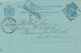Suriname - 1904 - 5 Cent Cijfer, Briefkaart G13 Van VK Paramaribo - Via Havre - Naar Amsterdam - Suriname ... - 1975