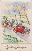 Old Original Postcard Walt Disney Donald Duck Happy New Year Gelukkig Nieuwjaar Nephews Huey Dewey And Louie Triplet - Autres