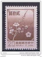 TAIWAN:  1979  FIORI  NAZIONALI  -  20 D. BRUNO-LILLA  N. -  YV/TELL. 1238 A - Ungebraucht