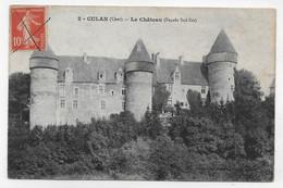 (RECTO / VERSO) CULAN EN 1914 - N° 2 - LE CHATEAU FACADE SUD EST - BEAU CACHET - CPA VOYAGEE - Culan