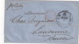 USA 1867 LETTRE DE NEW YORK POUR LAUSANNE MARQUE D'ENTREE ETATS UNIS PAR CALAIS - Marques D'entrées