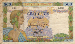Billet  500 Francs La Paix    DY.20-6-1942.DY.  FRANCE  G.6023 - 500 F 1940-1944 ''La Paix''