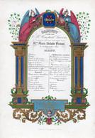 Carte Menu Banquet C.Laevens Mariage Mlle Marie Adélaïde Prenaut 1845 Litho Jacqmain 23,5 X16cm - Porcelaine